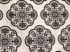 Black and White Medillion Upholstery Fabric by ShopMyFabrics