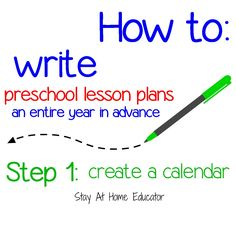 Step 1 - create a calendar_how to write preschool lesson plans an entire year in advance - Stay At Home Educator