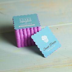 The sweetest little cards featuring @sweetpetitebakingco. These cute mini business cards are produced in a bubble square shape, with pink coloured edging. #jukeboxprint
