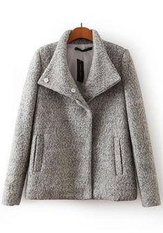 Grey Plain Pockets Wool Coat
