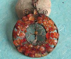 Pendant Origination. Tree of Life - Carnelian and Bronze