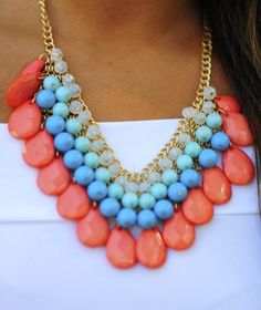 coral rainbow necklace, Stylish eye catching statement necklaces http://www.justtrendygirls.com/stylish-eye-catching-statement-necklaces/