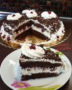 Αφράτη τούρτα Black forest με βύσσινα Greek Desserts, Food Gallery, Cheesecake Cupcakes, Black Forest, Confectionery, Cupcake Cakes, Cherry, Food And Drink, Cooking Recipes