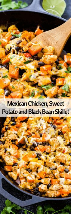An easy dinner all made in one skillet- Mexican Chicken, Sweet Potato and Black Bean Skillet. Top this healthy dinner with shredded cheese and cilantro for a fast and delicious Mexican inspired meal! (taco skillet dinners)