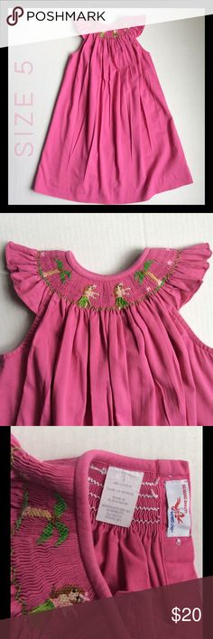🌴🌴Hula honey!🌴🌴 Hot pink cuteness!  Hand smocked hula girls!! Silly Goose Dresses
