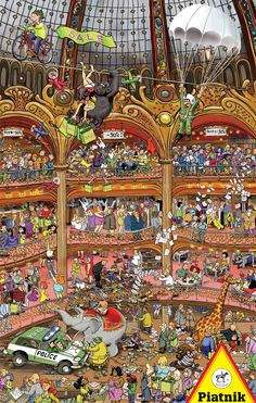 """Fine art puzzles by Piatnik - 1000 Pieces. Finished size: 26.5"""" x 17.4"""".  The whimsical work of internationally renowned illustrator Francois Ruyer has been featured in over 200 children's books. He was born in France and studied at Gerecole des arts decoratifs in Strasbourg. Released 2012."""