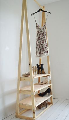 Handmade, Natural Wood, Clothes Rack, Clothes Rail with 3 Shelves - Holz