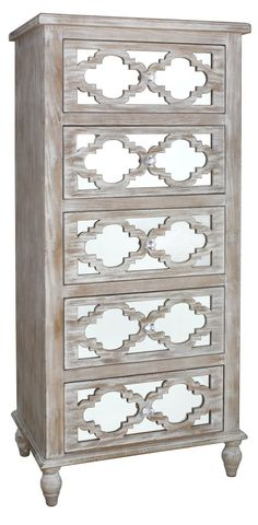 Hampton Beach 5 Drawer TallBoy Washed Ash And Mirror / Free UK delivery at www.mayfairhomefurniture.com