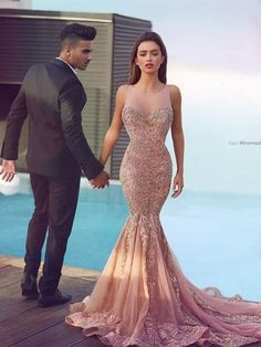Trumpet/Mermaid Scoop Sweep/Brush Train Sleeveless Tulle Prom Dress/Evening Dress # VB544