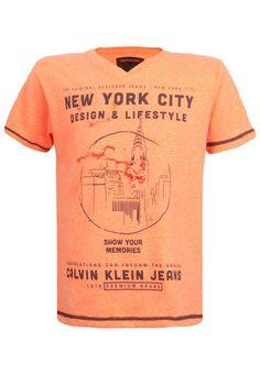 Camiseta Calvin Klein Kids NYC Laranja - Compre Agora   Dafiti Brasil