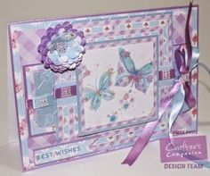 @crafterscomp Sugar and Spice CD - A5 Tent Fold - Card Companion 9 - Design Set 6/2 - Co-ordinating Paper 11/6 -Centura Pearl Pastels: Fresh Blue, Purple - Satin Finish Paper - Die'sire Quilling Blossom, Stamen - Embossalicious A4 Floral Trellis