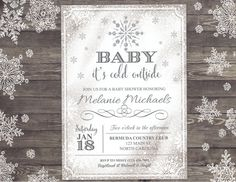 Baby Itu0027s Cold Outside Invitation   Snowflake Baby Shower Invite   Winter  Wonderland Baby Shower   Christmas Baby Shower # 033