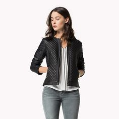 Tommy Hilfiger Xaura Material Mix Leather Jacket - masters black (Black) - Tommy Hilfiger Jackets - main image