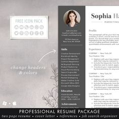 """★ FLASH SALE - 20% off all templates. Use coupon code SHINEONBOGO and get a 2nd template FREE! ★ Need a resume design makeover? The instant download """"SOPHIA resume template has a modern and clean design with a simple, easy-to-read layout - the kind of resume that stands out and makes a strong first impression to employers. You can easily customize the template with straightforward MS Word formatting thats easy to write in, edit headers and change colors. A professional, creative resume…"""