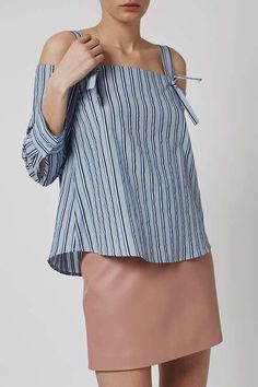 Striped Off-The-Shoulder Shirt by Boutique