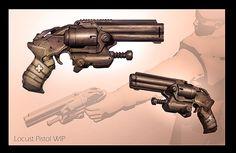 GOW Locust Pistol, James Hawkins on ArtStation at https://www.artstation.com/artwork/ArXkm