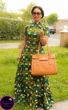 Wearing a halter neck cut-out back African print dress paired up with a Fiorelli handbag and a pair of Nine-west wedges African Print Dress Designs, African Print Clothing, African Print Fashion, Africa Fashion, African American Fashion, African Maxi Dresses, Latest African Fashion Dresses, African Dresses For Women, African Attire