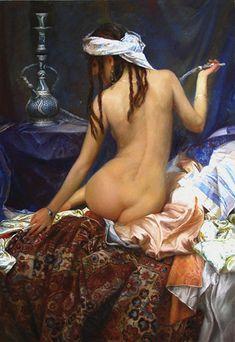 Kai Fine Art is an art website, shows painting and illustration works all over the world. Art And Illustration, Figure Painting, Painting & Drawing, Woman Painting, Hookahs, Art Japonais, Oil Portrait, Russian Art, Erotic Art