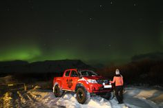 Northern lights hunting in Iceland on the Arctic Trucks vehicles.