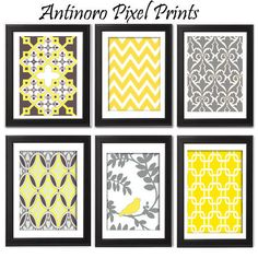 Spring Yellow Bird / Grey Vintage / Modern by antinoropixelprints. $40.00, via Etsy.
