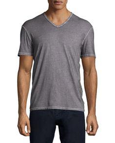 Burnout Short-Sleeve Henley Tee, Charcoal (Grey), Men's, Size: S - John Varvatos Star USA