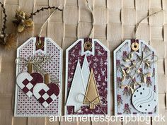 Gave-tags Julen 2019 Maja Design Christmas Gift Tags, Holiday Cards, Holiday Decor, Marianne Design, Vintage Cards, Cardmaking, Embellishments, Creations, Paper Crafts