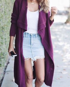 Transition your denim mini with a drapey plum cardigan via @pursuitofshoes' Saturday details | Get ready-to-shop details with www.LIKetoKNOW.it | http://liketk.it/2pqs5 #liketkit