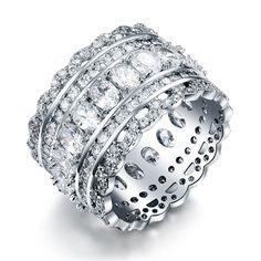 Кольцо - Кружево Серебряный с белым камнем