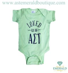 Alpha Sigma Tau mint baby onesie!! Perfect for baby boys or girls!! Great for legacies! Mint Loved by an Alpha Sigma Tau navy wave design onesie!