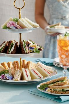 Easy & Elegant Tea Sandwiches Choose your favorite fillings & prepare up to a day ahead. Make your tea party yummy with Crowd-Pleasing Tea Sandwiches Cranberry Tea, Easter Side Dishes, Ham Salad, Chicken Salad, Turkey Salad, Tea Party Bridal Shower, Tea Bridal Showers, Bridal Shower Appetizers, Wedding Showers