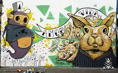 Mural Completo Hask and Calaca #haskandcalaca #streetart #bunnystreet #bunny #art #arte #misshask