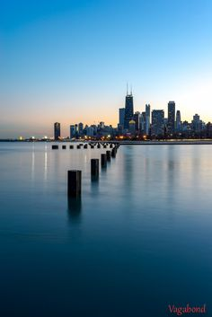 Chicago viewed from the lake at sunset.