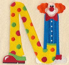 Clown Letter N - Quill it - would be so cute!