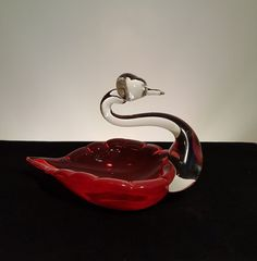 Vintage Blown Glass Swan Dish Clear and Red Glass by Retro Vintage, Vintage Items, Red Glass, Blown Glass, Swan, Dishes, Swans, Utensils, Tableware