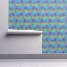 Isobar Durable Wallpaper featuring LEAVES AND FLOWERS FROSTED ICE GLASS TURQUOISE BLUE LIME by paysmage | Roostery Home Decor