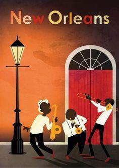 La Nouvelle Orleans Jazz Art, Jazz Music, Live Music, New Orleans Art, New Orleans Music, Warm Colours, Poster Vintage, Vintage Travel Posters, Art Deco Posters
