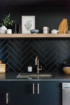 black modern kitchen, open wood shelf