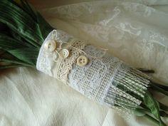 Burlap bridal bouquet wrap with vintage lace. $16.00, via Etsy.  DIY IT!