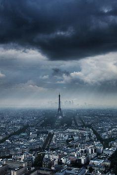 Paris under clouds
