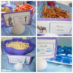 Disney Frozen Birthday Party snacks, foods