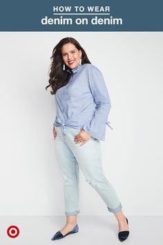 Mix up the typical denim-on-denim outfit with a few easy style tips. First, instead of tucking in your shirt, leave the bottom two buttons undone and tie it into a knot at the front. Second, play with color—a monochromatic palette stands out among the classic dark-plus-light wash denim combos. Pair that with velvet flats and a single piece of statement jewelry for a totally pulled-together look.