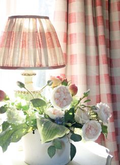 A classic french check in Pink is a lovely fresh, yet faded linen. Wonderful in kitchens! #homedecor #lighting