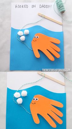 Fish Handprint Card HOOKED ON DADDY 🎣 Father's day craft for kids. An easy handmade Father's day Card kids can make! A fish handprint craft. Easy for toddlers, preschool or kindergarten! Diy Father's Day Crafts, Father's Day Diy, Baby Crafts, Spring Crafts, Decor Crafts, Infant Crafts, Simple Crafts, Kids Fathers Day Crafts, Fathers Day Art