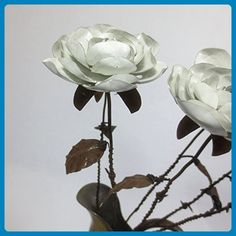 A Single Rustic White Immortal Wild Rose With Barbed Wire Stem Forever Blooming Flower - Artificial flowers (*Amazon Partner-Link)