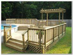 Above Ground Pool Deck Ideas. on round above ground pool deck design . Swimming Pool Decks, Above Ground Swimming Pools, My Pool, In Ground Pools, Pool Fun, Oberirdische Pools, Lap Pools, Indoor Pools, Backyard Pools