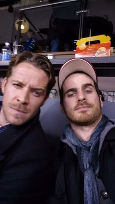 "OUAT ""@colinodonoghue1: Big thanks to @NHL for a great day at the hockey."" Colin O'donoghue and Sean Maguire and the eyebrow battle. GET IT"