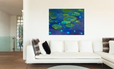 """Blue/Green Lilly Pad Abstract landscape paintings in Art, Original artwork , 36"""" x 48"""" Title: The Pond https://www.etsy.com/listing/204913493/bluegreen-lilly-pad-abstract-landscape?ref=shop_home_active_19"""