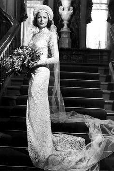 L'actrice Gene Tierney en robe de mariée - Robe Oleg Cassini - La Fiancée du Panda blog Mariage & Lifestyle