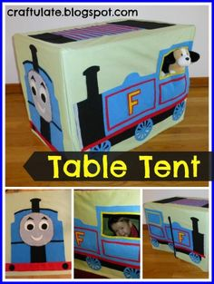 Steam Train Table Tent DIY - fits on a cheapy card table!