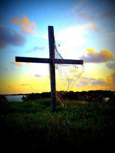 Cross with Net at Sunset; Cedar Key, Florida Print, framed print, canvas print, tin print, acrylic print, wall art, wall décor, photo art, art, faith print, Christian print, greeting cards